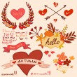 Autumn romantic collection — Stock Vector