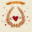 Romantic Illustration with hearts and leaves — Imagen vectorial