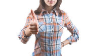 Young Woman Showing Thumb Up Sign — Stock Photo