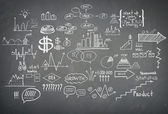 Doodle finance business elements hand-drawn — Stock Photo