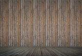 Wooden floor and concrete wall background textured — Foto de Stock