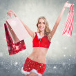 Beautiful sexy girl wearing santa claus clothes snow flakes concrete wall background concept - xmas merry chistmas new year — Stock Photo