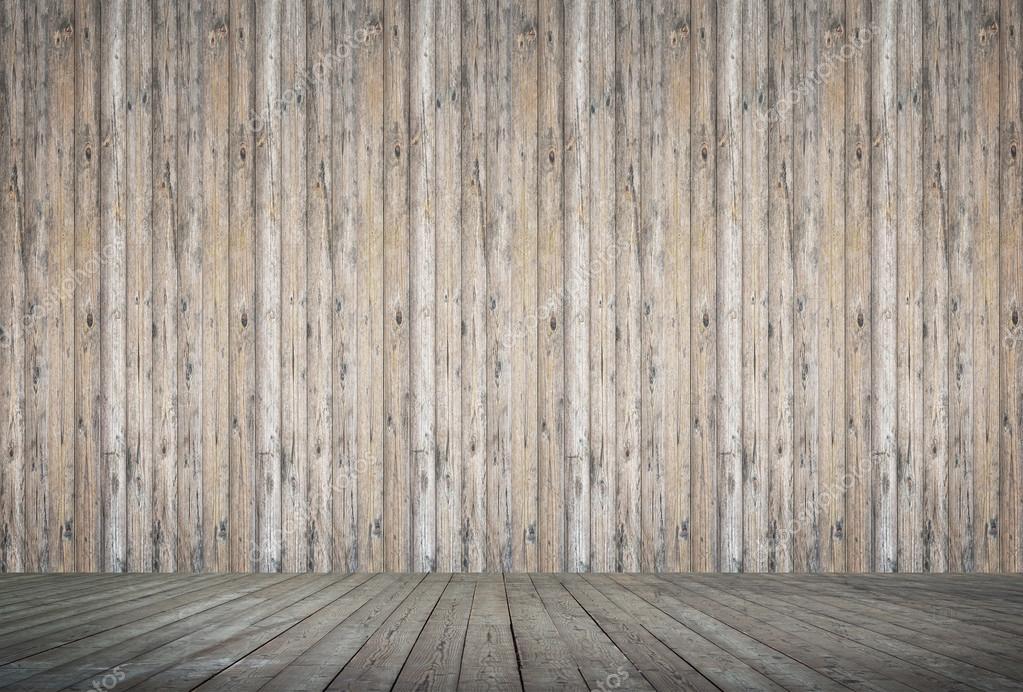 Camera in legno con sfondo di parete e pavimento di assi di legno ...