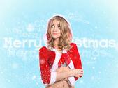 Beautiful girl, santa claus clothes. Concept - merry christmas, xmas, new year — Stock Photo