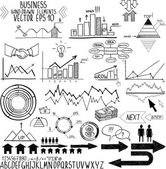 Set of hand drawn business finance elements vector illustration. Concept - bank, stats, economy, money — Stock Vector