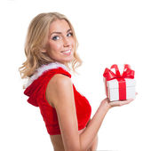 Happy smiling woman in santa claus clothes with present box. Concept - winter, christmas, x-mas, new year — Stock Photo