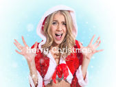 Happy smiling woman in santa claus clothes. Concept - winter, christmas, x-mas, new year — Stock Photo