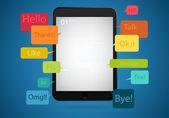 Tavoletta, infografica con icone. concetto - mobile, finanza aziendale — Vettoriale Stock