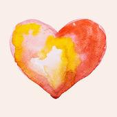 Watercolor heart, vector illustration — ストックベクタ