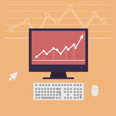Monitor, workstation desk vector illustration — Stockvector