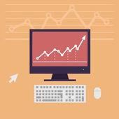Monitor, workstation desk vector illustration — Stock Vector