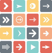 Arrow sign icon set, flat design, vector illustration of web design elements — Stock Vector