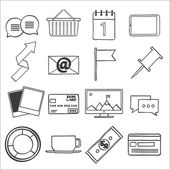 Modern flat icons vector collection, web design objects, business, office and marketing items. — Stock Vector