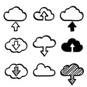 Hand draw doodle cloud shapes collection. Icons for computing web and app — Stock vektor