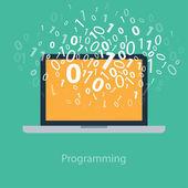 User programming coding binary code on notebook. Icon for web, blog, seo, social media, internet advertising. Flat design — Stock Vector