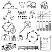Hand draw doodle elements money and coin icon, chart graph. Concept bank business finance analytics earnings — Vecteur