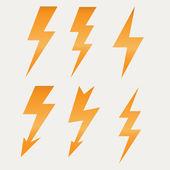 Lightning icon flat design long shadows vector illustration — Stock Vector