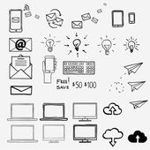 Hand draw doodle icons. Concept internet, work, office, shopping — Stock Vector
