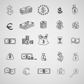 Money icons set doodle sketch hand draw. Finanse investment business credit bank elements — Stock Vector