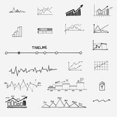 Business finance statistics infographics doodle hand drawn elements. Concept - graph, chart, arrows signs, search earnings money profit — Vecteur