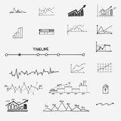 Business finance statistics infographics doodle hand drawn elements. Concept - graph, chart, arrows signs, search earnings money profit — Vecteur
