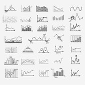 Business finance statistics infographics doodle hand drawn elements. Concept - graph, chart, arrows signs, search earnings money profit — Vetorial Stock
