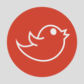 Twitter bird social media web internet icon with — Vector de stock
