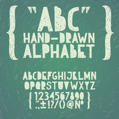 Blackboard chalkboard Chalk hand draw doodle abc, alphabet grunge scratch type font vector illustration — Vetorial Stock