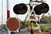 остановить предупреждающие знаки поезда. — Стоковое фото