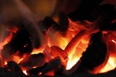 Burning charcoal in the stove. — Stock Photo