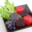 Red jelly and purple jelly in dish. — Stock Photo #26301123