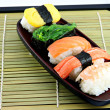 Stock Photo: Seafoods Sushi in dish.