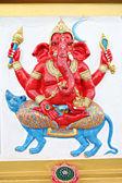 Ganesh estatua rojo en el templo. — Foto de Stock