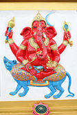 Red Statue Ganesh in the temple. — Stock Photo