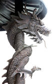 Black dragon statues in Chinese temple. — Stock Photo