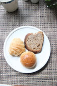 Hight view Bread in a white dish. — Stock Photo