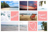 Mix Picture sea and Beach in frame. — Stock Photo