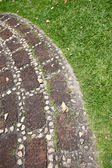 Boundaries between the stones on the grass in the park. — Stock Photo