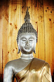 Buddha statue in the background of Oak woods. — Stock Photo