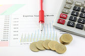 Red Pen,Calculator and money Coins on the Business graph. — Stock Photo