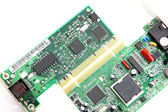 Modem Connection internet Computer equipment circuit board. — Stock Photo