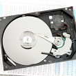 Hard drive Open the top cover off on Business graph. — Stock Photo