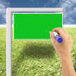 Stock Photo: Hand and green sign on lawn and blue sky.