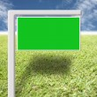 Stock Photo: Green sign on lawn and blue sky.