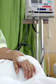 Hand with the salt water in Hospital. — Stock Photo