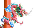 Pink dragon of sculpture. — Stock Photo