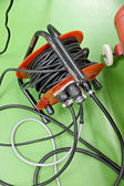 Power cable from the electrical socket outlet. — Stock Photo