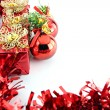 Stock Photo: Red ribbon and gift box.