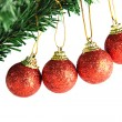 Stock Photo: Red ball hanging on branch of Christmas tree.