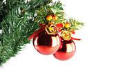 Red ball hanging on branch of Christmas tree. — Foto Stock